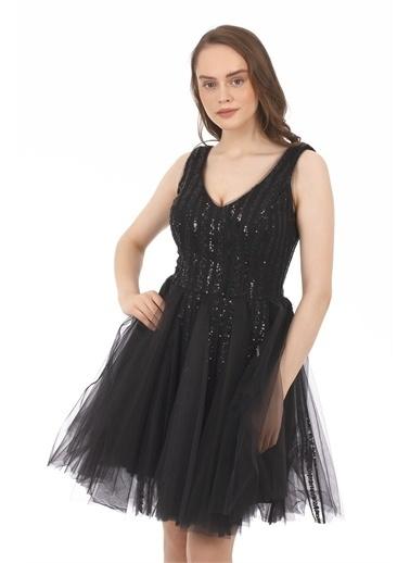 Carmen Tüllü Payetli Kısa Abiye Elbise Siyah